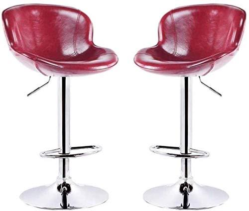 Zfggd taburete de bar, Set de 2 Habitaciones Comedor Comedor con PU Asiento Ajustable Altura y la rotación Adecuada, Rojo Taburete de Cocina taburetes de Cuero de imitación giratoria sillas con respa
