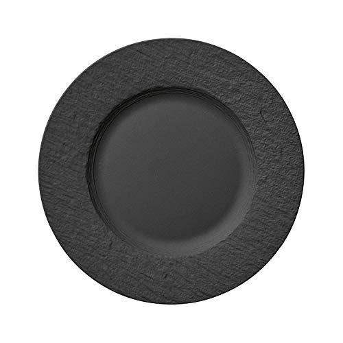 Villeroy & Boch - Manufacture Rock Speiseteller, 27 cm, Premium Porzellan, spülmaschinen-, mikrowellengeeignet, Schwarz