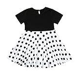 Livoral Mädchen Prinzessin Kleid Kinder Retro Kleid Polka Dot Prinzessin Swing Land Rock Party Kleid(Weiß,XX-Large)
