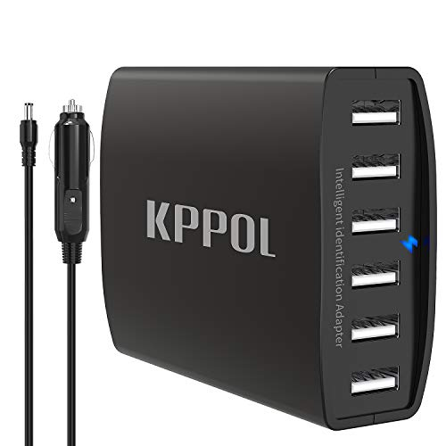 Fast Car Charger, 50W/10A 6 Port USB Car Charging Station with Smart IC, Multiple USB Fast Charger for Cell Phone, Compatible with iPhone, iPad, Samsung and Othter USB Device