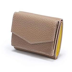 CACIQEU レディース ミニ財布 スモール 財布 本革 小さい 財布 人気財布 (グレージュイエロー)