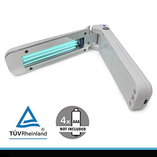 CROWN LED UV-C Desinfektionslampe tragbar, Tötet nachweislich bis zu 99,9{6df210c9f8d4deda05817764ca885ae044115a7eeb5928e9baa9ea8c3d215853} Viren, Bakterien und Keime auf verschiedensten Oberflächen, 253,7nm UV C