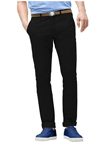 R & T - Pantaloni da uomo Slim Fit in cotone chino, tessuto lavabile in lavatrice  Black 34W x 32L