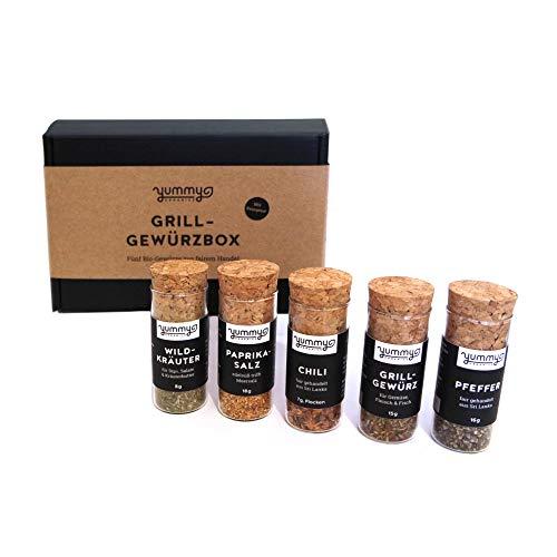 Bio Grill-Gewürzbox mit Rezepten / Geschenkset mit fair gehandelten Grillgewürzen / Manufakturprodukt: handmade, vegan, plastikfrei. Geschenkbox für Grillparties, BBQ Gewürz Set für Dips & Marinaden