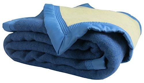 Ourson Manta de Invierno 100% Lana Virgen Pura–Oso, Bleu B0/Ecru A1, 240 x 260