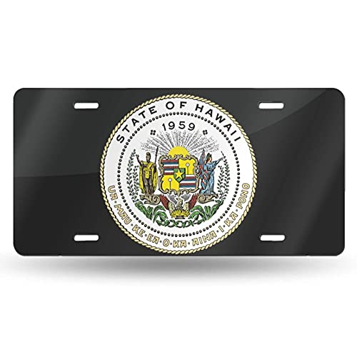 AOOEDM National Emblem of Hawaii Cotton License Plate Aluminum Novelty License Plate Decorative Front Plate 6 X 12 Inch