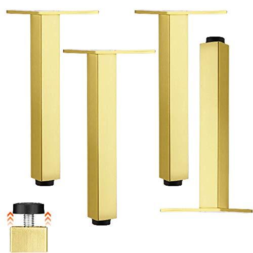ACUIPP Juego de 4 Patas de Armario de Muebles, Patas de Cocina de Aleación de Aluminio, Patas de Muebles Ajustables, Patas de Sofá Cuadradas, Patas de Armario de Tv, Placa de Montaje Triangular, para