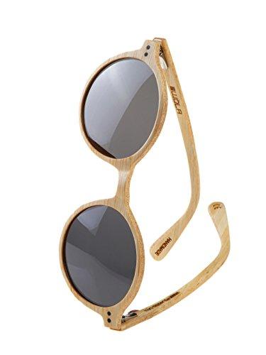 WOLA redondas gafas de sol en madera HELIO bamb  madera, estilo sunglasses UV400 - polarisada bambu