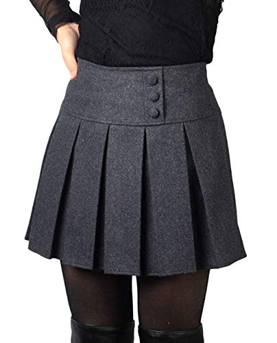 chouyatou Women's Casual Plaid High Waist A-Line Pleated Skirt (Large, H908-Gray)