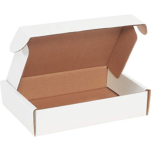 Aviditi White Deluxe Literature Mailing Boxes, 9 x 6 1/4 x 2 Inches, Pack of 50, Crush-Proof, for Shipping, Mailing and Storing