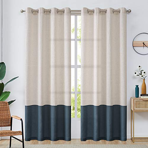Linen Textured Curtains for Living Room Darkening Curtain Panels Color Block Window Curtains for Bedroom 84 inches Length- Flax & Indigo Blue
