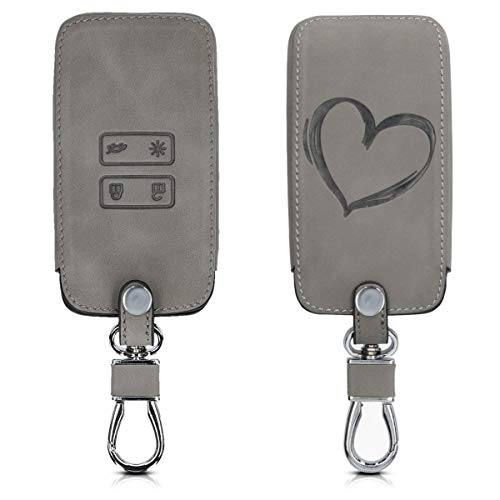 kwmobile Autoschlüssel Hülle kompatibel mit Renault 4-Tasten Smartkey Autoschlüssel (nur Keyless Go) - Kunstleder Schutzhülle Schlüsselhülle Cover Herz Brush Grau