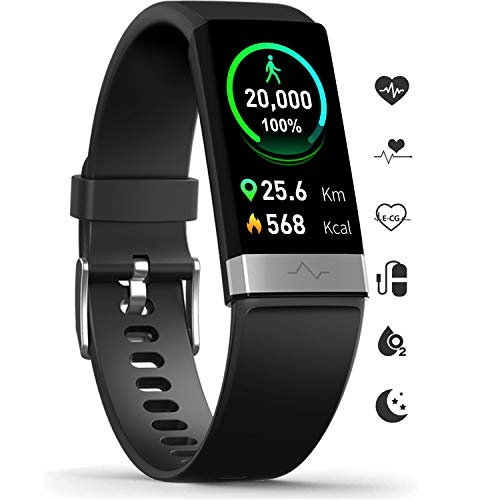 MorePro Fitness Activity Tracker Heart Rate Blood Pressure Monitor, IP68 Wateproof Smart...