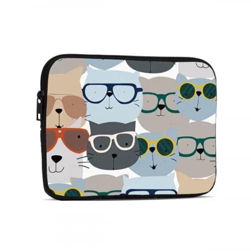 Bolsa para computadora portátil para Hombres Gafas con Encanto Frendly Cat Funda para Tableta Compatible con iPad 7.9/9.7 Pulgadas Bolsa Protectora para Tableta con Cremallera de Neopreno a Prueba