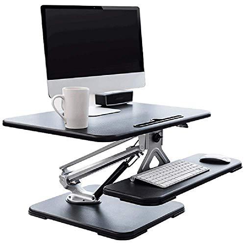Home&Selected Furniite/computer, stand-up-tafel, voor kantoor, hefbrug, werktafel, verhoging, bureauhouder, 80 x 47,5 x 18,5 – 48 cm (kleur: zwart) Zwart
