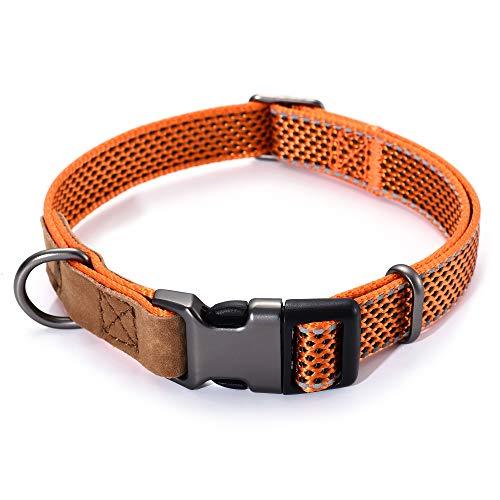 Mile High Life   Reflektierendes Nylon-Hundehalsband   kleines Hundehalsband   mittelgroßes Hundehalsband   großes Hundehalsband   Leder-Hundehalsband (orangefarbener Halsumfang 33 - 43,2 - 18,1 kg)
