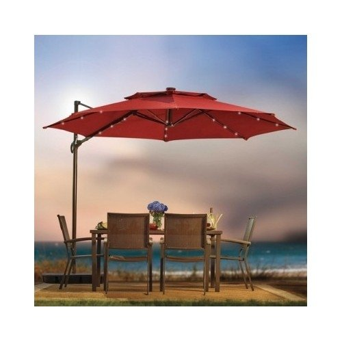 Destination Summer Outdoor Patio Cantilever Umbrella 11 Foot Round Canopy with Solar Powered Lights...
