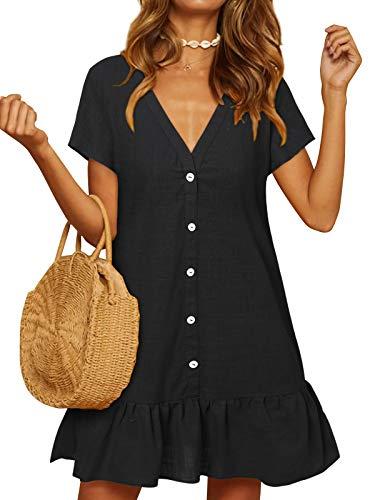YOINS Damen Sommerkleid Kurzarm Minikleid Einfarbig V-Ausschnitt Homewear Blusenkleid mit Knopfen T-Shirtkleider Tunikakleid Schwarz M