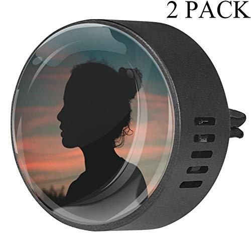 Preisvergleich Produktbild TIZORAX Sunset Beauty Girl 2 Packungen Auto Ätherisches Öl Diffusor Lufterfrischer für Autoraum Büro