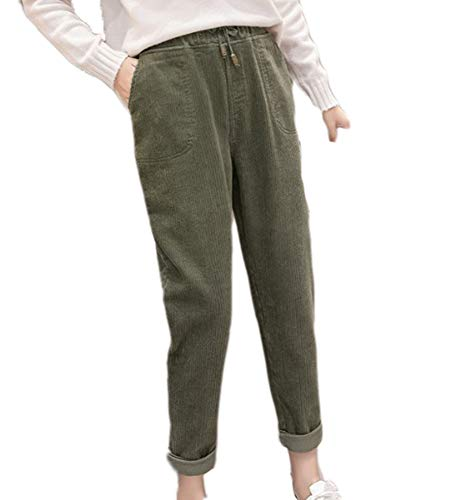 Hellomiko Pantalones de Pana Mujer Otoño Invierno Vintage Pantalones Casuales Sueltos Pantalones Holgados de Bolsillo Harem