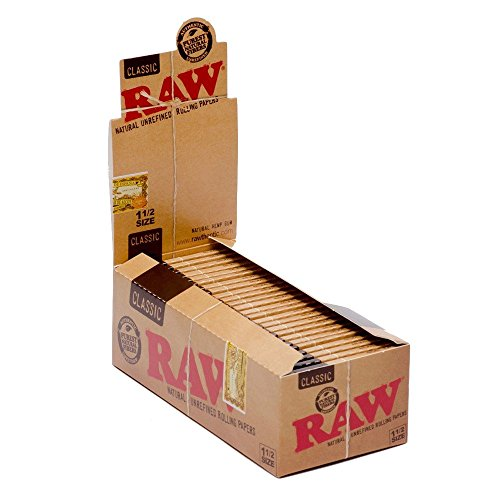 Raw Classic 1 1/2 Size Rolling Paper 33 Count (Pack of 25)