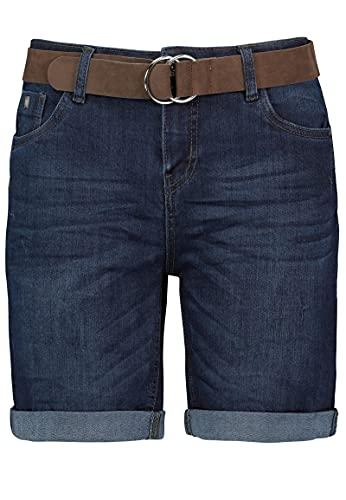 Sublevel Damen Jeans Bermuda-Shorts mit Veloursleder Gürtel Dark-Blue L