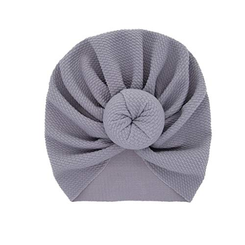 LABIUO 12 Couleurs Style Indien Noeuds Bonnet Bébé, Mode Chapeau Bandeau Turban Noeud Mou Tête Wraps pour Bébé Filles Bonnet Nouveau-Né Tout-Petits pour 0-2 Ans(Gris,Taille Unique)