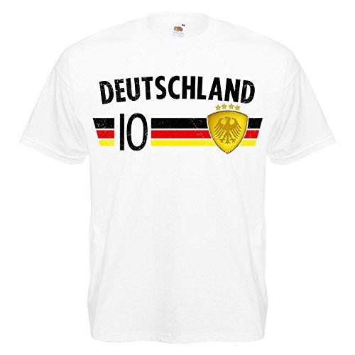 Fußball WM T-Shirt Fan Artikel Nummer 10 - Weltmeisterschaft 2018 - Länder Trikot Jersey Herren Damen Kinder Deutschland Germany Weiß 4XL