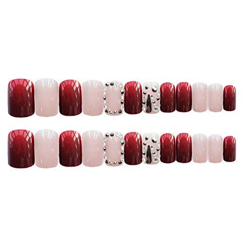 Faux ongles Vin Rouge Noir Gouttelettes d'eau et Strass Décoré Couverture Complète Faux Ongles Mi-longueur Tête Carrée Ongles TI