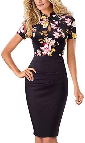HOMEYEE Women's Short Sleeve Business Church Dress B430 (10, Floral+Black)