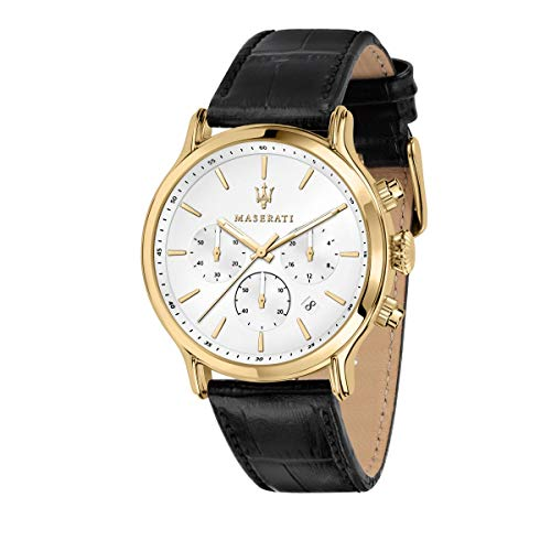 Maserati Epoca Reloj Hombre, Cronógrafo, en Acero, PVD Oro, Cuero - R8871618012