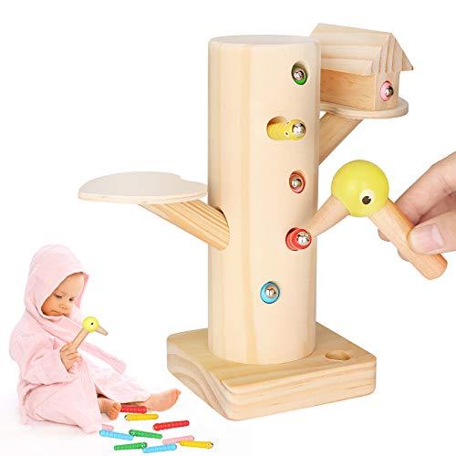 Sinwind Montessori Spielzeug, Specht Raupen Fangen Spiel Montessori Lernspielzeug, Holzspielzeug, Magnetisches Kinderspiel 3 4 5 Jahre für Jungen und Mädchen, Geburtstagsgeschenk, Kindergeschenke