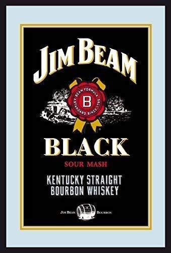 Jim Beam Bourbon Whiskey Label Logo black Nostalgie Barspiegel Spiegel Bar Mirror 22 x 32 cm
