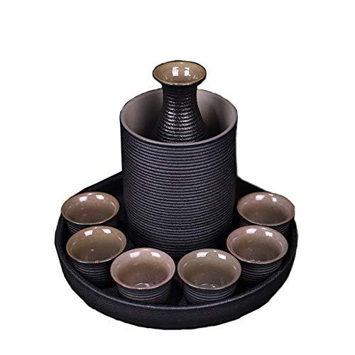 9-teiliges Set japanische Keramik Sake Cup Set mit, rutschfest geschmacklos Nicht verblassen, einfach zu bedienen, leicht zu reinigen geeignet für Kulturliebhaber, traditionelles Handwerk