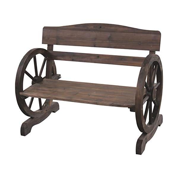 Moonrish 771lbs Durable Wood Construction Wagon Wheel Wooden Outdoor Bench Seat Chair...
