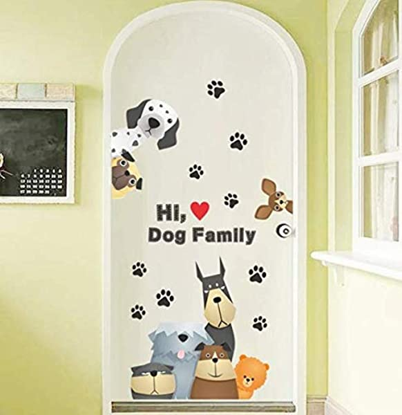 3D Vivid Broken Family Police Dog Cat Paw Wall Stickers For Kids Room Children Bedroom Pet Decoration Wall Decals Mural Arts