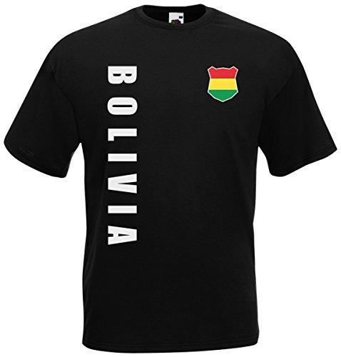 Bolivien Bolivia T-Shirt Trikot Wunschname Wunschnummer (Schwarz, XXL)