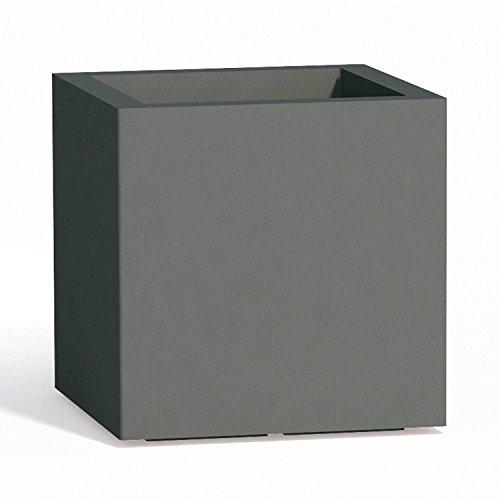 Maceta cuadrada Cube de resina H40gris 40x 40cm