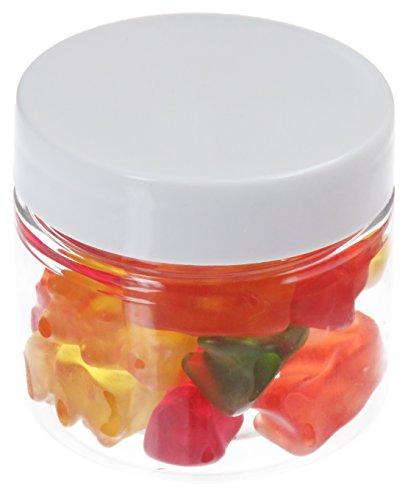 50 ml PET Tiegel transparent, mit Plastikdeckel weiß, 10 Stück