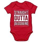 Schwaben Babys - Straight Outta Augsburg Weiss - 3/6 Monate - Rot - Baby Strampler Augsburg - BZ10 - Baby Body Strampler