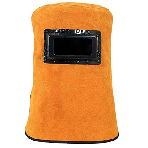 Naisicatar soldadura de la capilla de cuero resistentes al calor Casco con filtro de la lente de ojo de Protección cuello de la cara del soldador Accesorios de seguridad