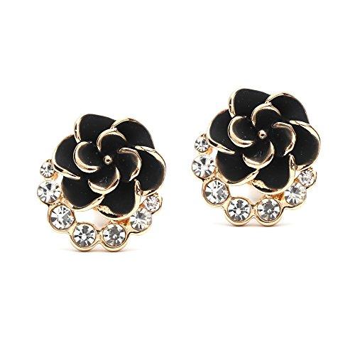 Orecchini a clip, con motivo floreale e cristalli, di colore nero