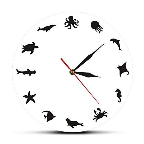 mazhant Ozean Meerestiere Acryl Wandbehang Uhr Meerestiere Silhouette Runde Uhr Iconic Sea Creature Dekorative Wandkunst Uhr-30X30cm