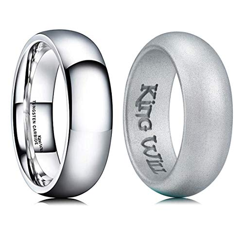 King Will Mens High Polished Comfort Fit Domed Tungsten Metal Ring & Domed Silicone Wedding Band Set Sliver Classic Style Replaceable 9