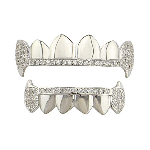 Gib niemals auf Zähne Set - Gold Cruz Diamonds Grillz - Vergoldet - Ausgezeichneter Schnitt für alle Arten von Zähnen - Ober- und Untergrillset - Hip Hop Bling Grillz (Farbe : Silber)