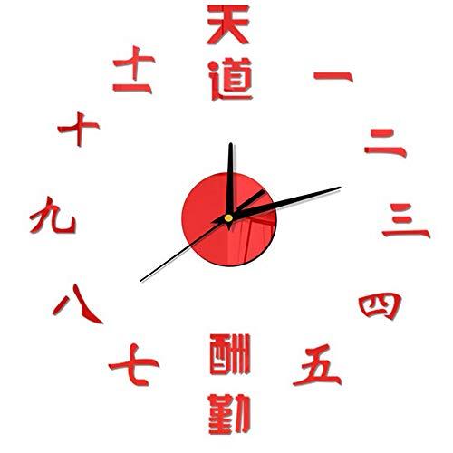 guyuell Récompense Le Diligent Chinese Saying Numérique Numéro Classique Inspiration DIY Sticker Horloge Murale Horloge Murale À Quartz, 12Po