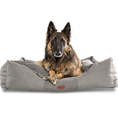 Premium Hundebett kleine, mittlere und Grosse Hunde. Geschenke für Hundebesitzer, Hundeliebhaber und Hundehalter. Rutschfestes Hundekörbchen, robust und gemütlich (XL 105 x 85 x 25, Grau)