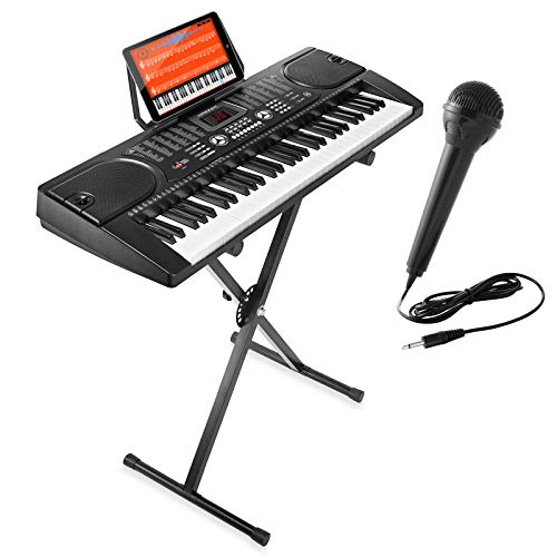 Hamzer 61-Key Electronic Piano Electric Organ Music Keyboard with Stand, Microphone, Sticker Sheet - Black