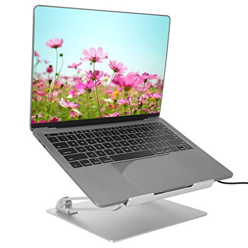 Ausla Soporte para ordenador portátil, ángulo ajustable, portátil, plegable, PC, altura ajustable, con ventilador de refrigeración, capacidad de carga de 5 kg, para portátil de 10 a 15,6 pulgadas