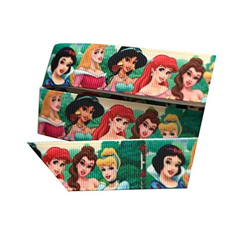 Todos los incluso Princesas Disney Elsa Anna Snow White Belle Cenicienta groguén cinta 2m x 22mm para tarta de cumpleaños o regalos lazos para el pelo